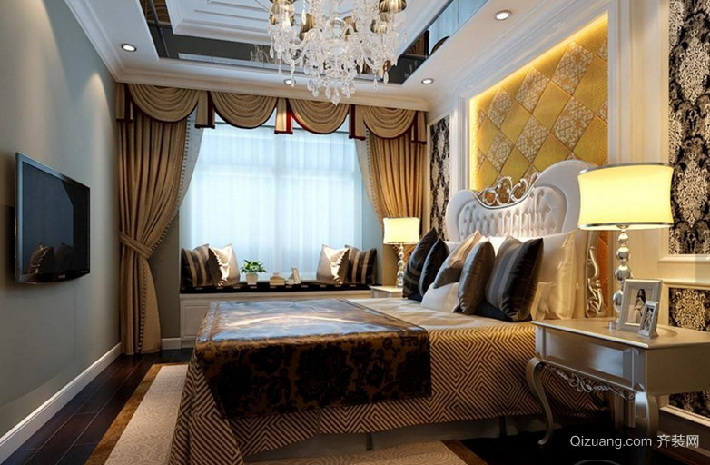 大户型极致奢华欧式风格卧室背景墙设计装修效果图