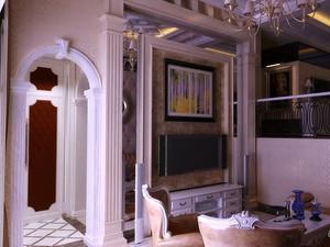 120平米大户型欧式罗马柱客厅电视背景墙装修效果图