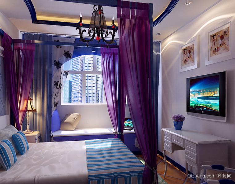 100㎡地中海风格卧室背景墙设计装修效果图