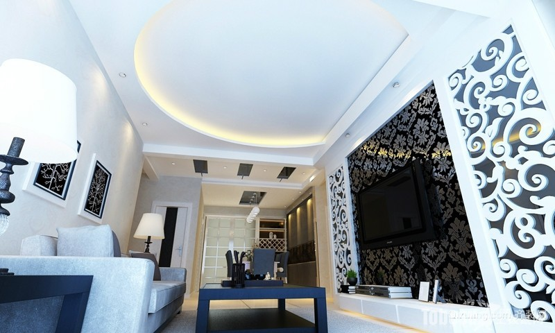 大户型欧式风格客厅石膏线电视墙装修效果图