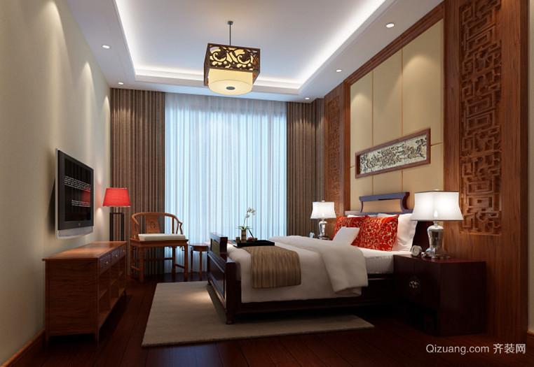 120㎡中式风格卧室背景墙设计装修效果图