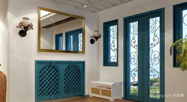 100㎡蓝色地中海风格玄关鞋柜设计装修效果图