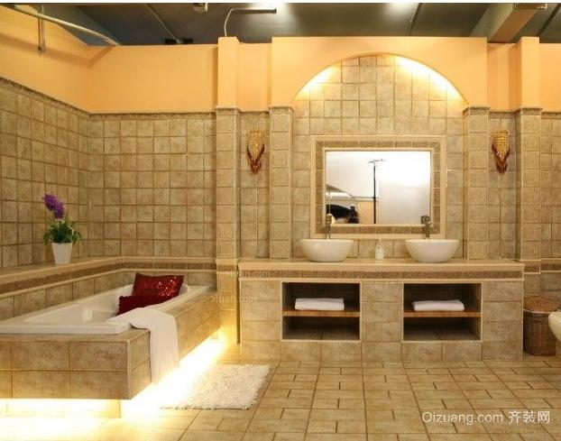 100平方两居室卫生间防滑垫地垫装修效果图