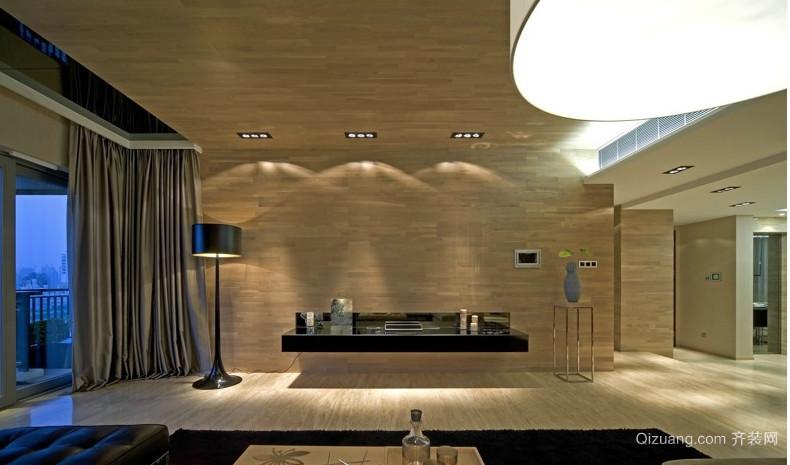 独具匠心客厅木板背景墙装修效果图
