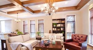 美式乡村风格客厅吊顶小洋楼装修效果图