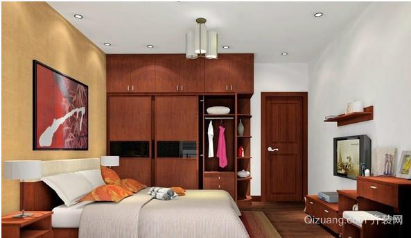 中式家装卧室实木床装修效果图