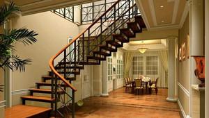 120㎡田园风格室内楼梯设计装修效果图