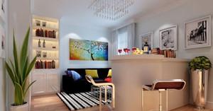 90㎡温馨田园风格家庭吧台设计装修效果图