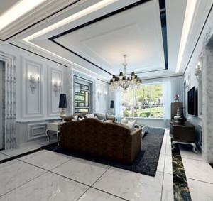 80平米欧式客厅石膏板装修效果图