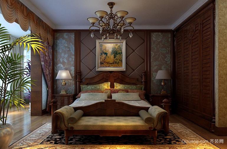 120㎡奢华美式风格卧室背景墙设计装修效果图