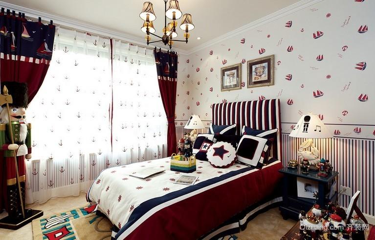 70平米现代地中海风格儿童卧室背景墙装修效果图
