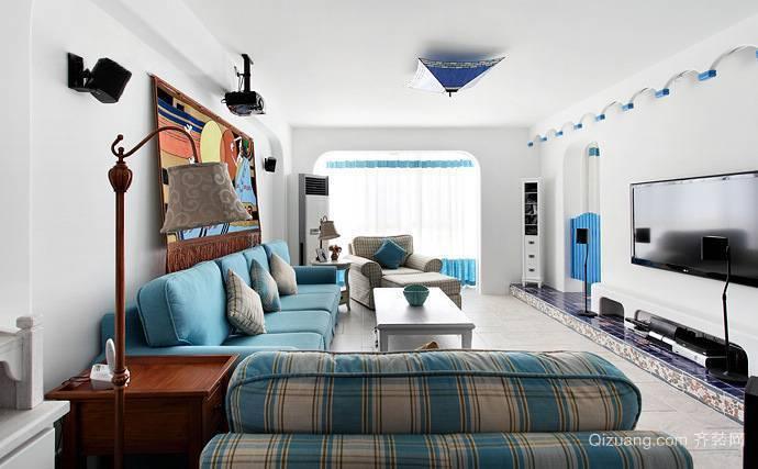 地中海风格室内设计客厅电视背景墙装修效果图
