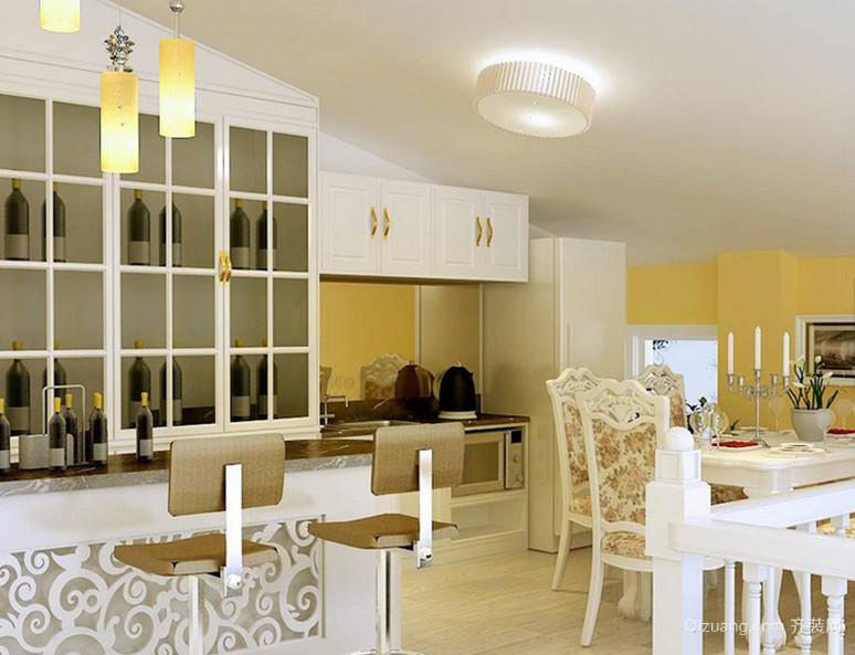 120㎡欧式家庭吧台设计装修效果图