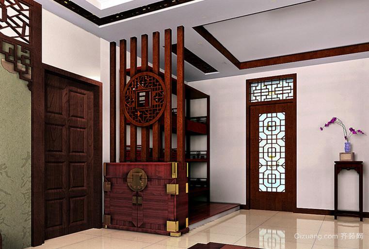 120㎡中式风格玄关鞋柜设计装修效果图