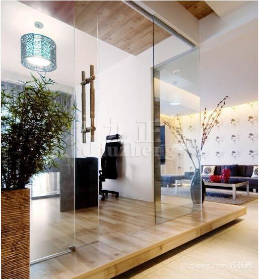 复式楼时尚客厅地台背景墙装修效果图