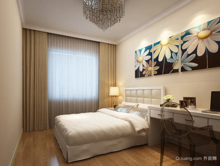 110㎡现代风格卧室背景墙设计装修效果图