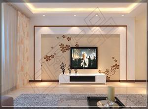 大户型客厅硅藻泥电视背景墙装修效果图