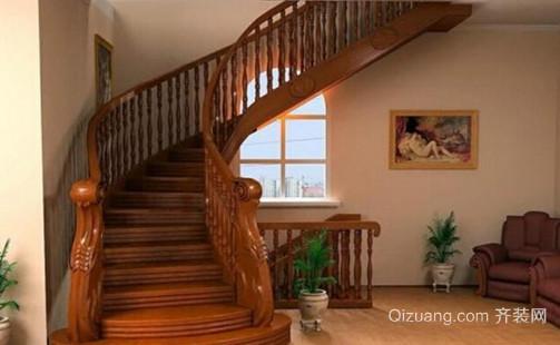 大户型美式风格室内楼梯设计装修效果图