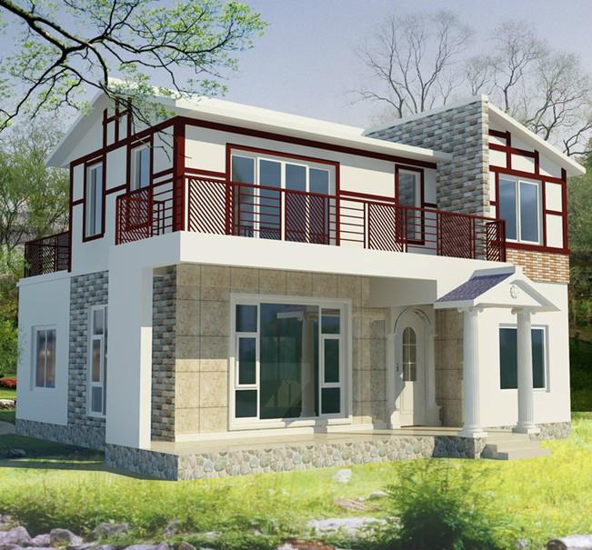 小户型现代农村时尚小别墅外墙砖装修效果图-齐装网