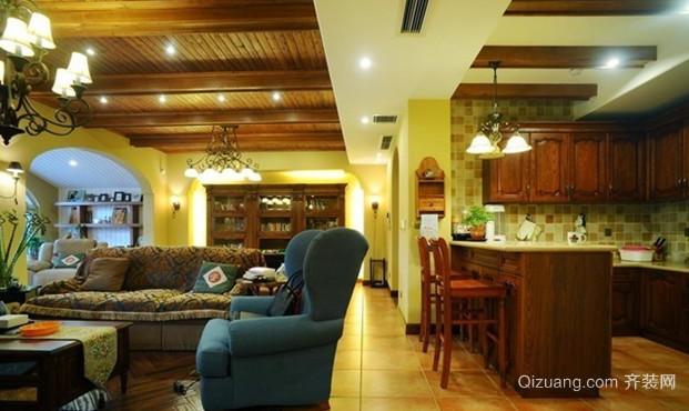 120㎡古典雅致风格家庭吧台设计装修效果图