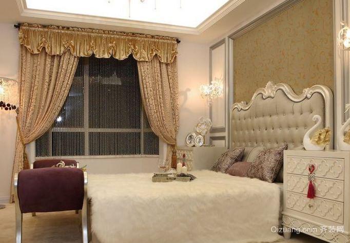 80平米现代简约卧室床背景墙效果图