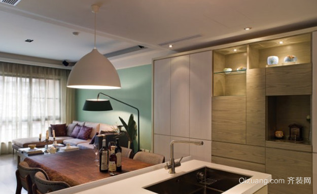 90平米现代开放式厨房设计装修效果图