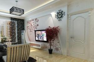 80平米现代简约客厅电视背景墙装修效果图