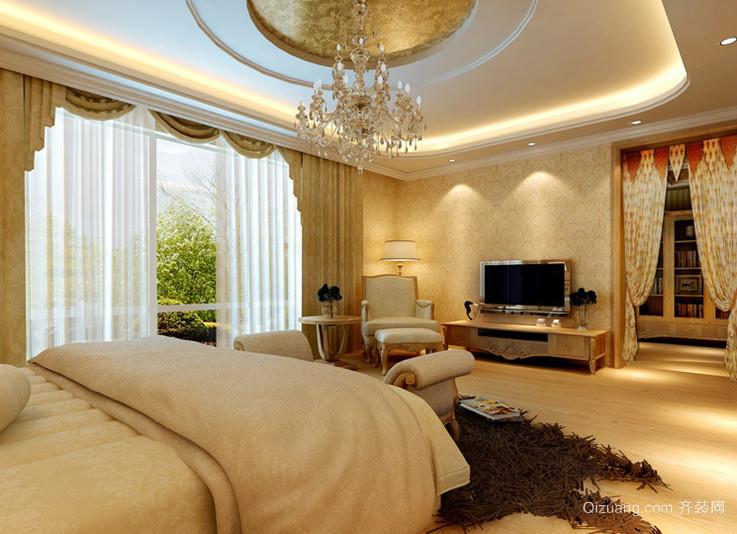 120㎡欧洲风格卧室背景墙设计装修效果图