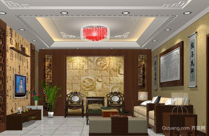 新中式风格影视墙效果图大全