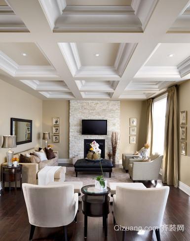 经典客厅石膏线吊顶装修效果图