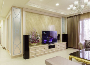 微晶石瓷砖电视背景墙效果图