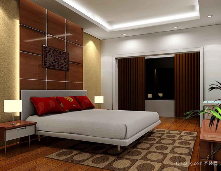 110㎡精致朴素风格卧室背景墙设计装修效果图
