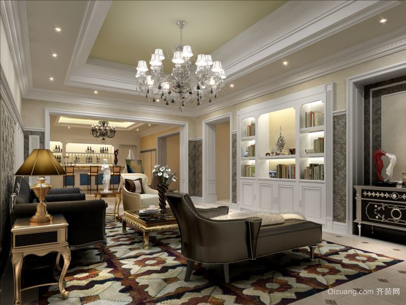 三室二厅现代欧式客厅书柜背景墙装修效果图