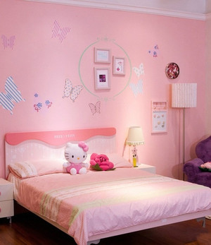 甜美女生儿童房墙纸装修图