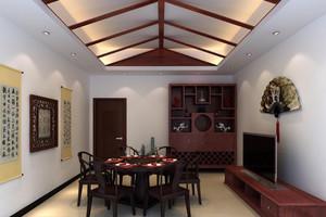 简约中式餐厅中式酒柜装修效果图