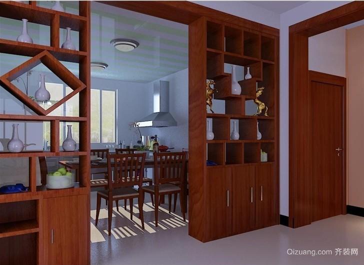 三室一厅现代客厅隔断博古架装修效果图