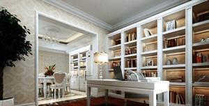 120㎡三居室法式书房设计装修效果图