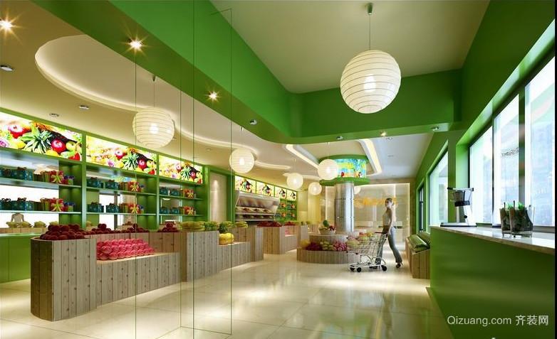 现代简约水果店吊顶背景墙装修效果图