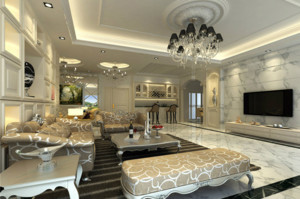 80平米两居全新欧式客厅装修效果图