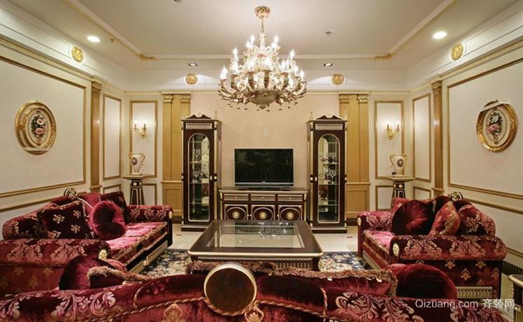 大户型法式风格客厅电视背景墙装修效果图