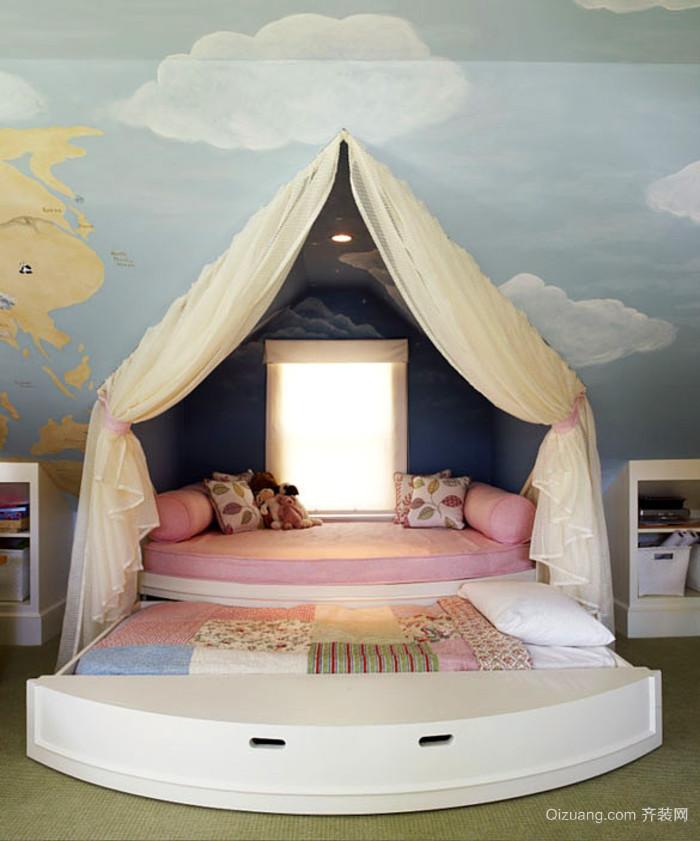 女生卧室现代简约风格儿童床