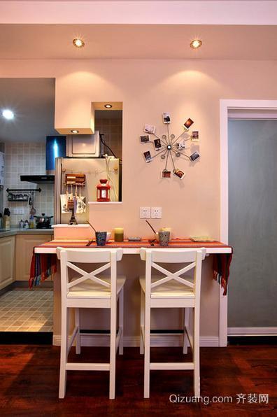 100平超美厨房吧台精装修效果图