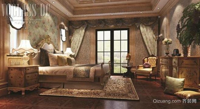 三居室欧式风格卧室背景墙设计装修效果图