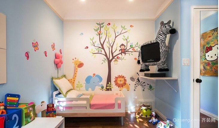 儿童房卧室墙贴装修效果图