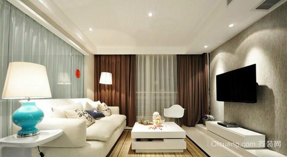 现代白色简约客厅效果图
