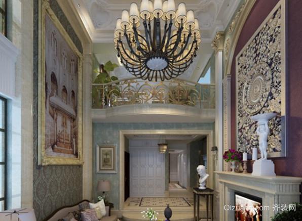 125㎡法式风格客厅电视背景墙装修效果图