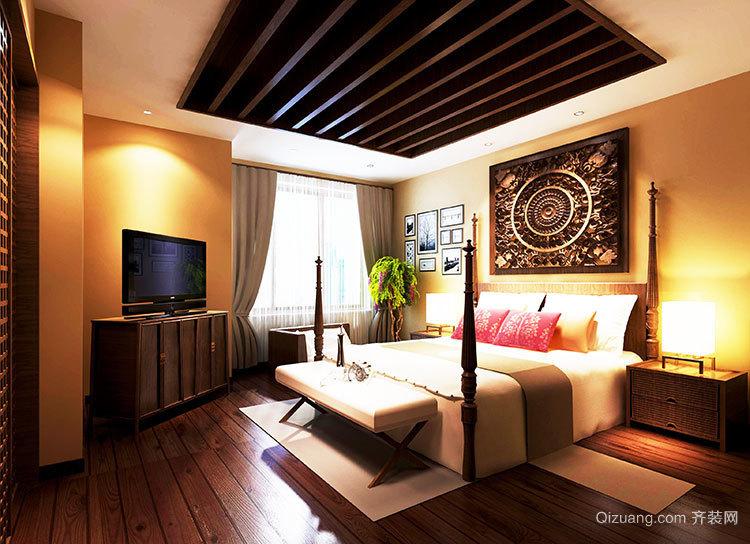 中式卧室的吊顶装修设计图