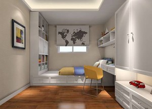 小户型日式卧室榻榻米床背景墙装修效果图