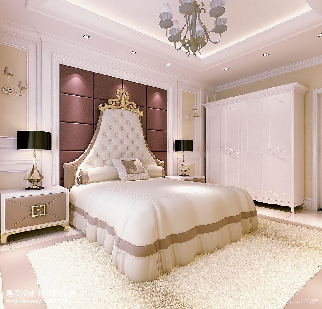 别墅型欧式卧室软包床头背景墙装修效果图