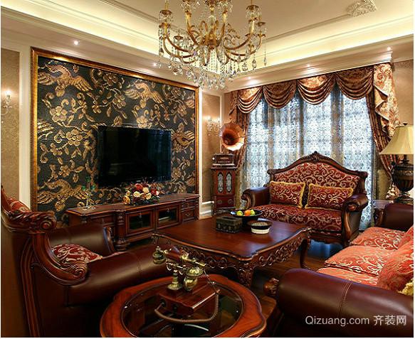 中式新古典客厅装修效果图